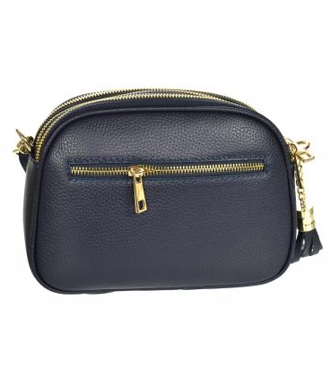 Kék bőr kereszttest táska GS104 Blue GROSSO bojttal