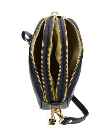 Modrá kožená crossbody kabelka so strapcom GS104 Blue GROSSO