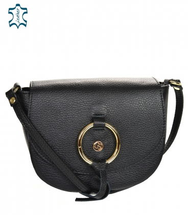 Black leather crossbody handbag with a decorative gold ring GS105 Black GROSSO
