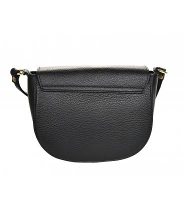 Čierna kožená crossbody kabelka s ozdobným zlatým krúžkom GS105 Black GROSSO