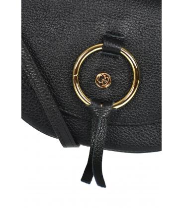 Fekete bőr kereszttáska kézitáska dekoratív arany gyűrűvel GS105 fekete GROSSO