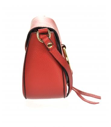 Červená kožená crossbody kabelka s ozdobným zlatým krúžkom GS106 RED GROSSO