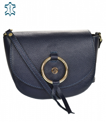 Blue leather crossbody handbag with a decorative gold ring GS107 Blue GROSSO