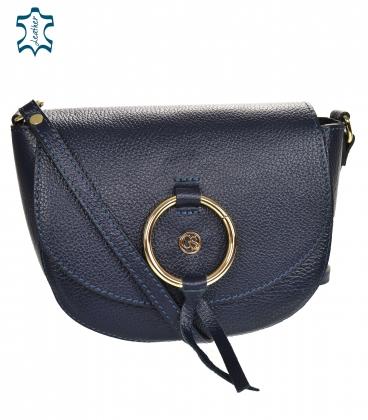 Modra kožená crossbody kabelka s ozdobným zlatým kroužkem GS107 Blue GROSSO