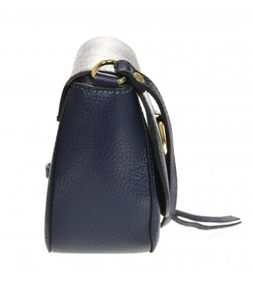 Modrá kožená crossbody kabelka s ozdobným zlatým krúžkom GS107 Blue GROSSO
