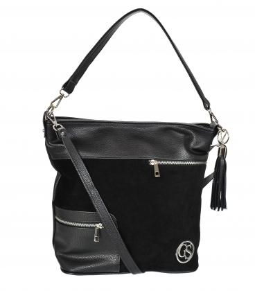 Black handbag with zippers and pendant 21V0005black GROSSO
