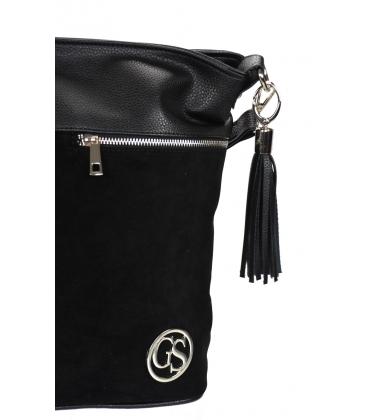 Čierna kabelka so zipsami a príveskom 21V0005black GROSSO