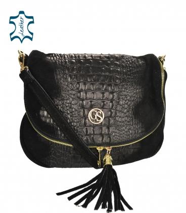 Black leather crossbody croco handbag KM030blackkroko GROSSO BAG