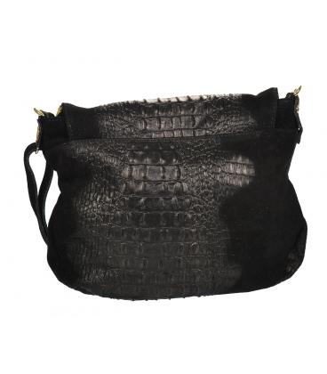 Fekete bőr kereszttest kézitáska KM030blackkroko GROSSO BAG
