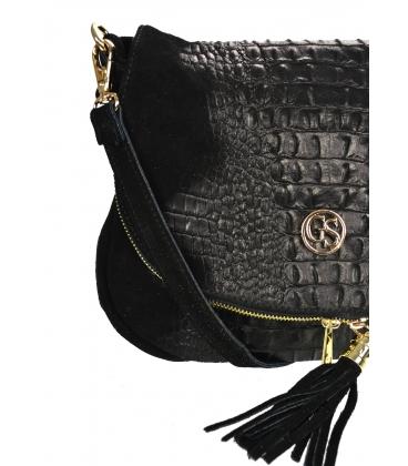 Čierna kožená crossbody kroko kabelka KM030blackkroko GROSSO BAG
