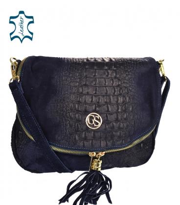 Dark blue leather crossbody croco handbag KM030bluekroko GROSSO BAG