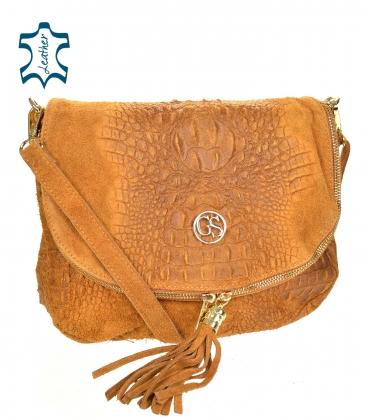 Mustard-yellow leather crossbody croco handbag KM030mustard GROSSO BAG