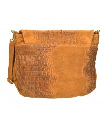 Mustársárga bőr crossbody táska KM030mustard GROSSO BAG