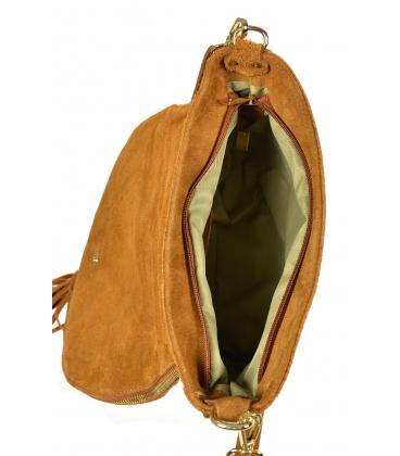 Horčicovo-žltá kožená crossbody kroko kabelka KM030mustard GROSSO BAG