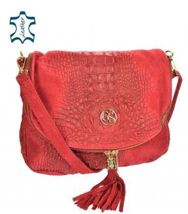 Red leather crossbody croco handbag KM030red GROSSO BAG