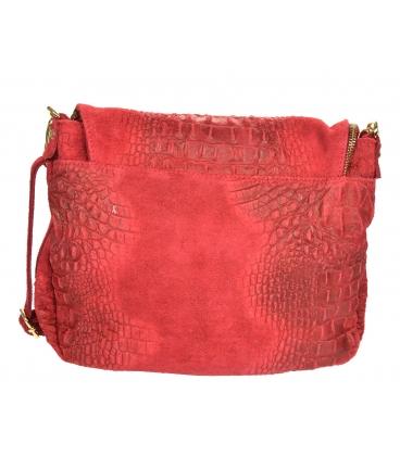Piros bőr crossbody táska KM030red GROSSO BAG