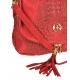Červená kožená crossbody kroko kabelka KM030red GROSSO BAG