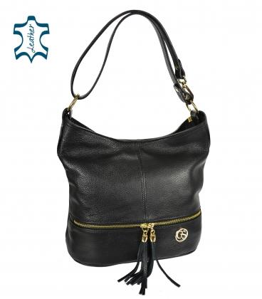 Black leather bag with tassels GSKM050black GROSSO