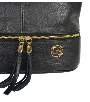 Fekete bőr táska rojtokkal GSKM050black GROSSO