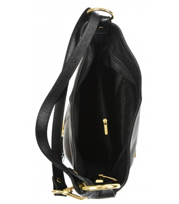 Čierna kožená kabelka so strapcami GSKM050black GROSSO