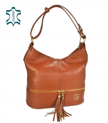 Hnedá kožená kabelka so strapcami GSKM050brown GROSSO