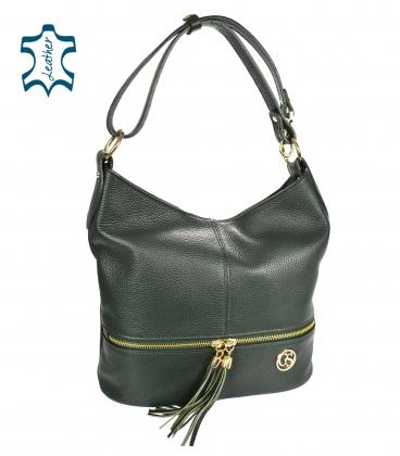 Tmavozelená kožená kabelka s třásněmi GSKM050green GROSSO
