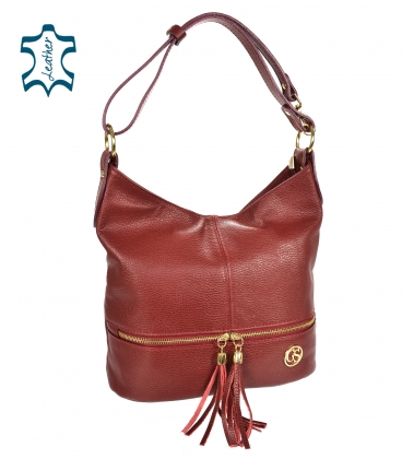 Red leather handbag with tassels GSKM050red GROSSO