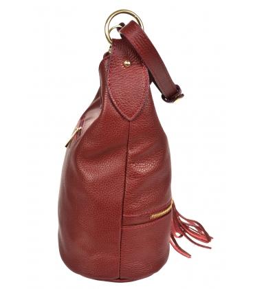 Červená kožená kabelka so strapcami GSKM050red GROSSO