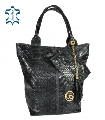 Black braided leather shopper bag GSKV067black GROSSO
