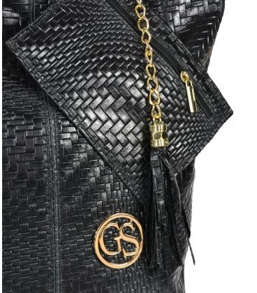 Fekete fonott bőr vásárlótáska GSKV067black GROSSO