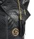 Čierna prepletaná kožená shopper kabelka GSKV067black GROSSO