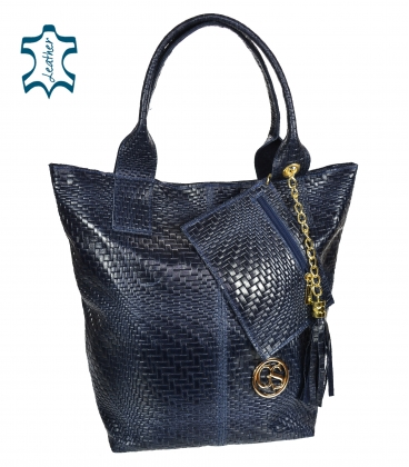 Dark blue braided leather shopper bag GSKV067blue GROSSO