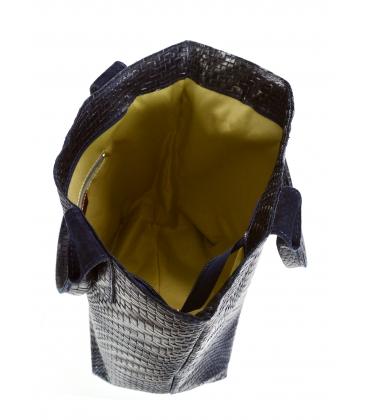 Tmavomodrá prepletaná kožená shopper kabelka GSKV067blue GROSSO