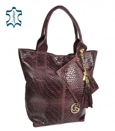 Burgundy braided leather shopper bag GSKV067bordo GROSSO