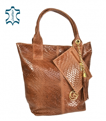 Brown braided leather shopper bag GSKV067brown GROSSO