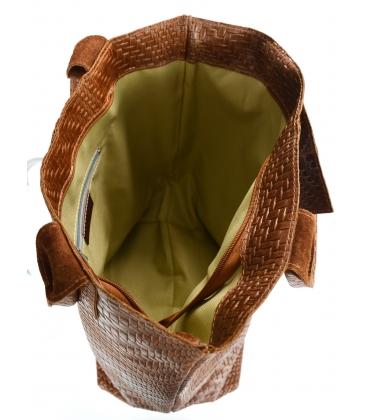 Hnedá prepletaná kožená shopper kabelka GSKV067brown GROSSO