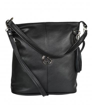 Black handbag with zipper and pendant GS21V0004black GROSSO