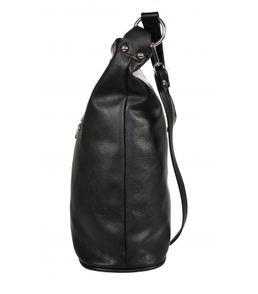 Čierna kabelka so zipsom a príveskom GS21V0004black GROSSO