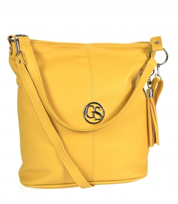Yellow handbag with zipper and pendant GS21V0004yellow GROSSO