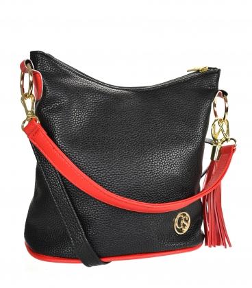 Black red crossbody handbag with tassel 20M006blackredtassel GROSSO