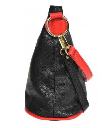 Fekete piros kereszttáskás táska bojttal 20M006blackredtassel GROSSO