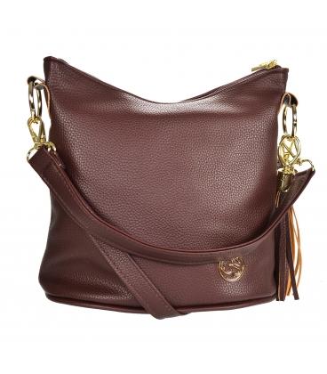 Dark brown crossbody handbag with tassel 20M006darkbrowntassel GROSSO