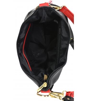 Čierno červená crossbody kabelka so strapcom 20M006blackredtassel GROSSO