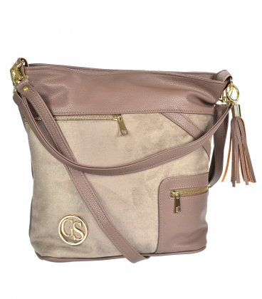 Brown-gray handbag with zippers and pendant 21V0004browngrey GROSSO