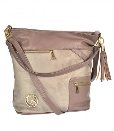 Hnedo-sivá kabelka so zipsami a príveskom 21V0004browngrey GROSSO