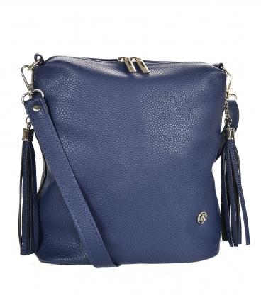 Blue crossbody handbag with tassels 20M006black GROSSO
