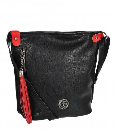 Čierno červená crossbody kabelka so strapcom 16KL001blackred GROSSO
