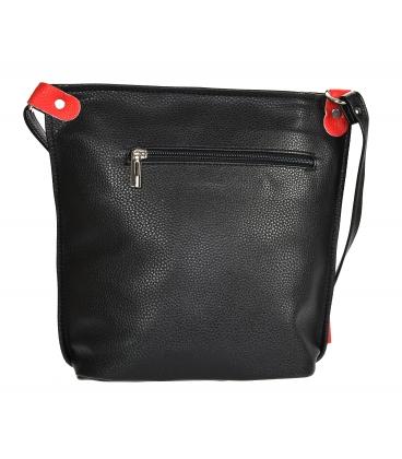 Fekete piros kereszttáskás táska bojttal 16KL001blackred GROSSO