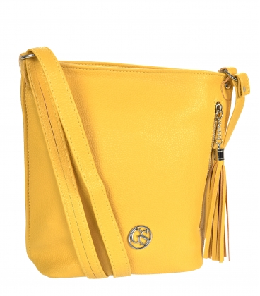 Yellow crossbody handbag with tassels and zippers 16KL001Yellow GROSSO