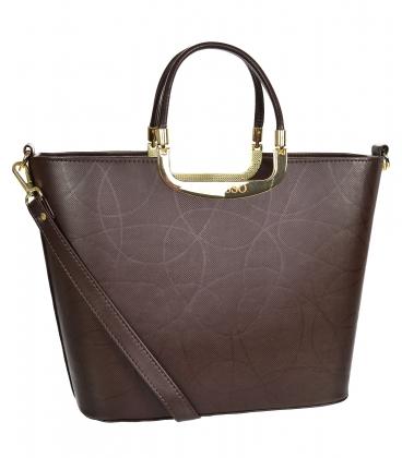 Brown elegant reinforced handbag V21SM002brown - GROSSO